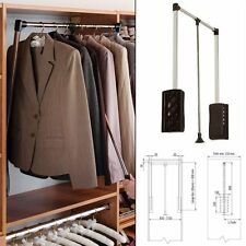 White Pull Down Wardrobe and Bedroom Clothes Rail 450-600 Extendable Pantograph