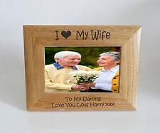 Wife Photo Frame 7 x 5 - I heart-Love My Wife 7 x 5 Photo Frame - Free Engraving