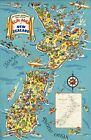 "Vintage Illustrated Travel Poster CANVAS PRINT Fun Map New Zealand 8""X 10"""