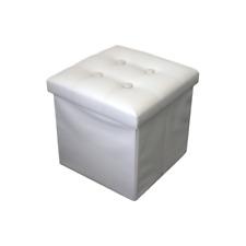 Rebecca Mobili RE4256 Pouf Contenitore in Ecopelle 30 x 30cm - Bianco