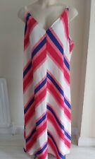 Ladies MAXI DRESS size 22 long summer stripe DRESS white pink blue NEW - FREE PP