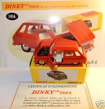 DINKY TOYS ATLAS RENAULT 6 R6 1968 ROUGE 1/43 REF 1416 IN BOX
