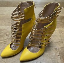 YELLOW GOLD GLADIATOR SANDALS NEW UK 6.5/7  STILETTO SUMMER TOWIE CLUB IBIZA