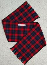 Vintage Pendleton 100% Wool Red Blue Black Plaid Fringe Scarf 52 x 11