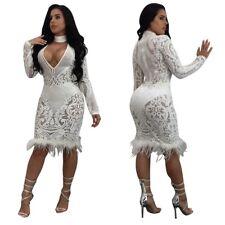 5f2936afbf63 Abito cono Aderente trasparente Ballo Party Cerimonia Sequin Bodycon Dress S
