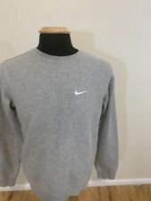 Nike Sweatshirt Mens (S) Ash Gray Crew Neck Long Sleeve Embroidered Small Check
