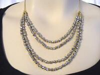 $28 Panacea Hematite-tone Crystal Beads Beaded Layered Necklace Goldtone 22""