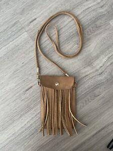 Tan/ Brown Suede Crossbody Tassled Phone Bag/Pouch