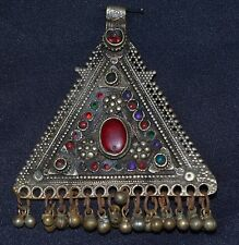 #4Genuine Old Uzbek Tribal Silver Pendant Glass Insert And Carnelian Gemstone