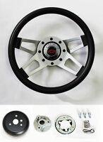 "C10 C20 C30 Blazer Grant Black Steering Wheel 4 Spoke 13 1/2"" red/blk Bowtie cap"