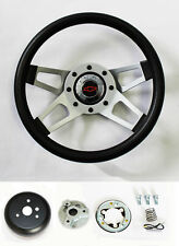 "C10 C20 C30 Blazer Grant Black Steering Wheel 4 Spoke 13 1/2"" red/blk Bowtie cap"