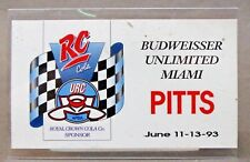 1993 BUDWEISER UNLIMITED MIAMI PIT PASS RC Cola Hydroplane boat racing c3