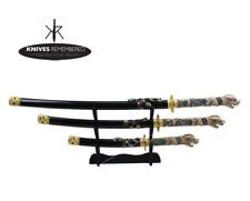 4 Pcs Open Mouth Dragon Samurai Katana Sword Set w/ Black Scabbard Home Decor