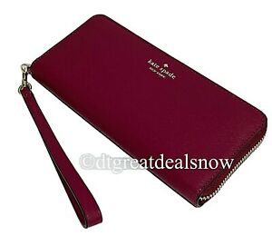 NWT Kate Spade Connie Slim Continental Wallet Wristlet Rhubarb Pink