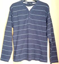 Grey Striped Jumper  V Neck & White Undershirt Style   Size Small   Polycotton