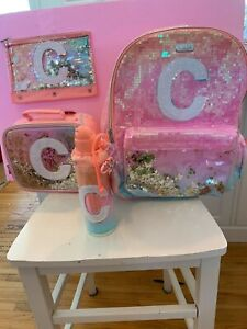 """Nwt Justice Shaky OMBRE INTITIAL """"C"""" BACKPACK Lunch T Pencil H2O bottle"""