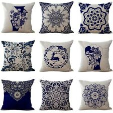 Chinese Style Blue And White Porcelain Pattern Cushion Cover Square  Pillow Case