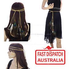 Hippie 1970s Party Gypsy Bohemian Peacock Feather Headband Hair Band Waist BELT