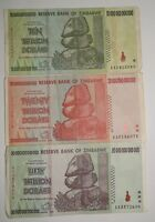 ZIMBABWE SET OF 10 20 AND 50 TRILLION ZIMBABWE DOLLARS CIRCULATED