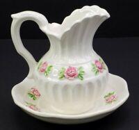 Vintage Ucago Ceramics Miniature Floral Water Pitcher and Bowl Japan Handpainted
