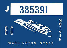 1980 WASHINGTON Vinyl Sticker Decal -CAR or TRUCK License Plate Reg. TAB TAG-New