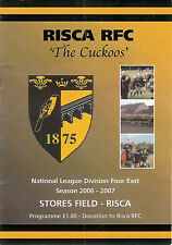 RiscavTredegar Ironsides 28 Oct 2006 RUGBY PROGRAMME