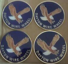 "Dayton Wire Wheels Set Of 4 Blue & Gold Metal Eagle Emblems Size 2.38"""