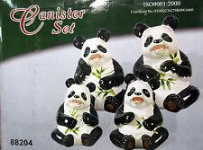 New Panda Bear Shaped Canister Set 4 Pandas Bears Jars Canisters Storage #88204