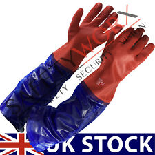 LONG ARM GAUNTLET 24 INCH POLYCO PVC RUBBER DRAINS WASTE PLUMBER FISHING GLOVE