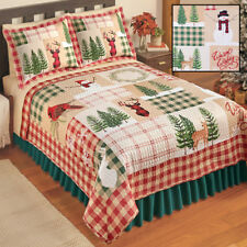 WINTER CABIN 3pc King QUILT SET : RED BUFFALO DEER SNOW NICHOLAS CHRISTMAS