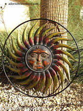 Large Round Metal Sun Wall Decor Garden Art Indoor Outdoor Patio Wall Sculpture