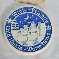HeartLand Trivet Round Stone Winter Friend Snowman Bread Bun Warmer Wall Plaque