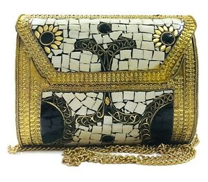 Antique Indian art Handmade Stone mosaic metal bag Women/Girl Bridal metal cluth