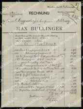 Rechnung Papierfabrik Max Bullinger München Pasing Aibling Handel Gewerbe 1891!!