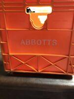 ABBOTTS Milk Crate, Plastic, Orange, Size 9 1/2 Height X 17 1/2 Length, 10 1/4 W
