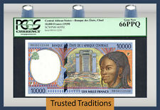 TT PK 605Pd 1998 CENTRAL AFRICAN STATES 10,000 FRANCS PCGS 66 PPQ GEM POP ONE