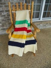 "Vintage HUDSON BAY 4 point STRIPED 100% Wool Blanket 88"" x 75"" England"