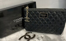 NEW CHANEL Beauty Quilted Makeup Trousse Black Bag Iphone Pouch Clutch with box