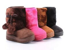 4 Color Faux Suede Faux Fur Casual Booties Toddler Kids Girls Winter Boots Shoes