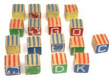 Lot 17 Vintage Natural Wood Alphabet Word Picture Blocks Ribbed