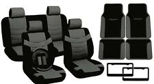 Black/Gray PU Leather Seat Covers Tribal Floor Mats License Plate Frames CS1