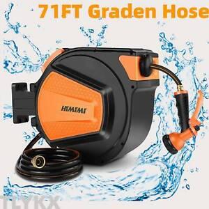 71FT Wall Mounted Retractable Garden Water Hose Reel Holder Auto Rewind 8 bar