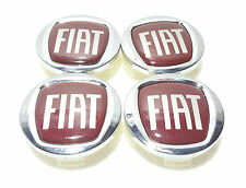 Set of 4 Fiat 60 mm Alloy Wheel Centre Caps Chrome/Red Fiat 500, Punto,