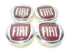 Set of 4 Fiat 60 mm Alloy Wheel Centre Caps Chrome/Red Fiat 500, Punto,