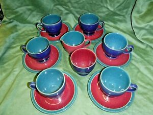 Denby  Harlequin  6 x cup/saucers  plus jug & sugar