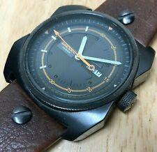 Diesel DZ-1239 Mens 100m Titan-Black Steel Analog Quartz Watch Hours~New Battery
