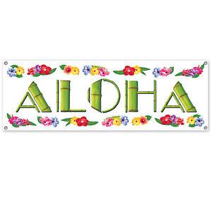 Floral & Bamboo Print ALOHA Luau Tropical Beach birthday Wedding party decoratio