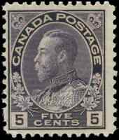 Canada #112i mint F OG NH 1922 King George V 5c grey violet Admiral Wet CV$40.00