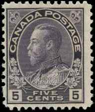 Canada #112i mint F OG NH 1922 King George V 5c grey violet Admiral Wet CV$40.00