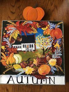 "Nancy Thomas Folk Art Wall Plaque: ""AUTUMN"" Metal Frame W/Pumpkin2008 (MK)"